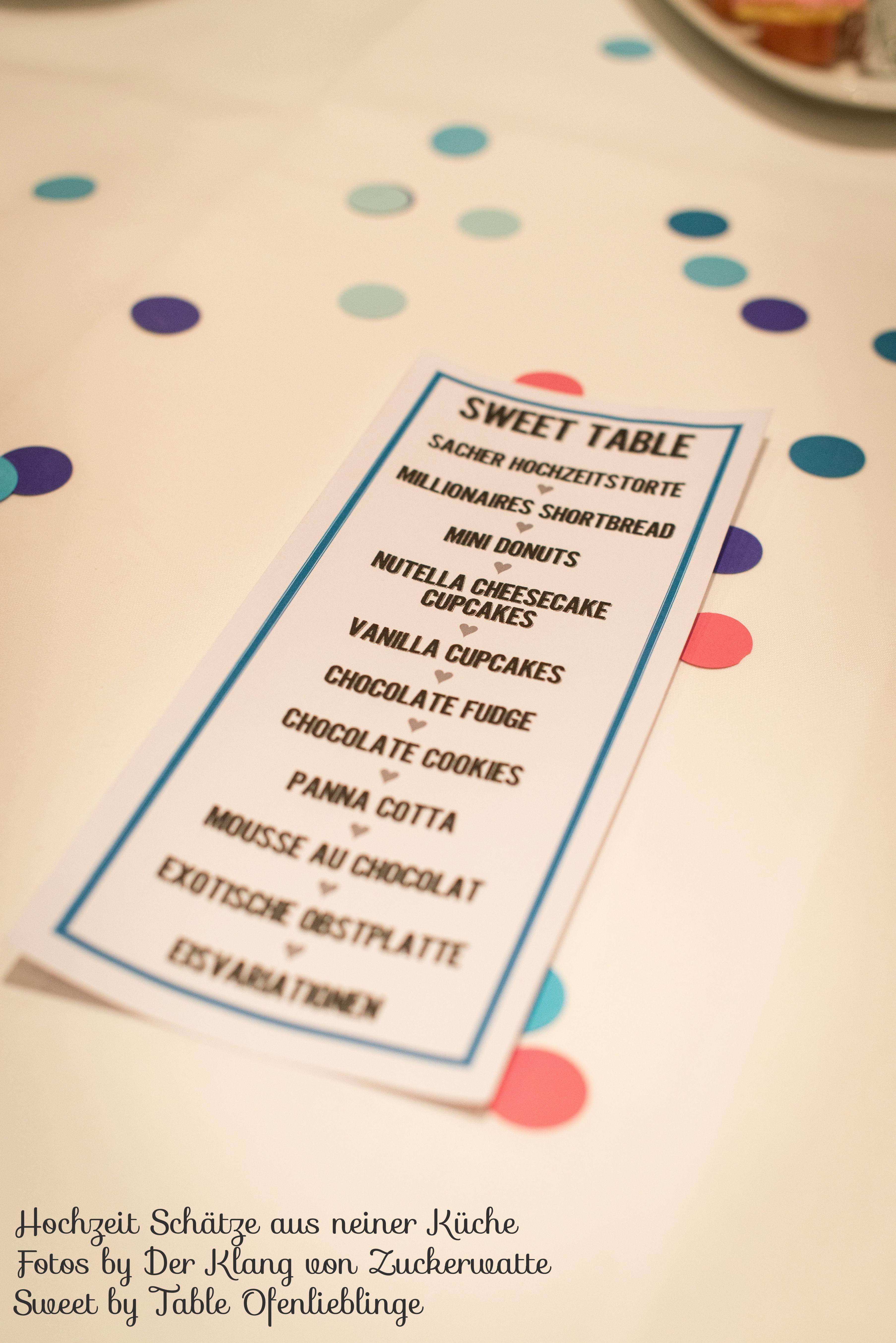 Sweet Table Karte Schätze aus meiner Küche
