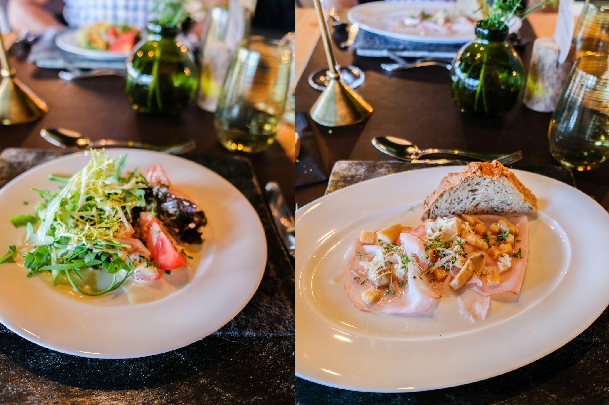 Abendessen Vorspeise Salat Carpaccio Hotel Pfösl Schätze aus meiner Küche
