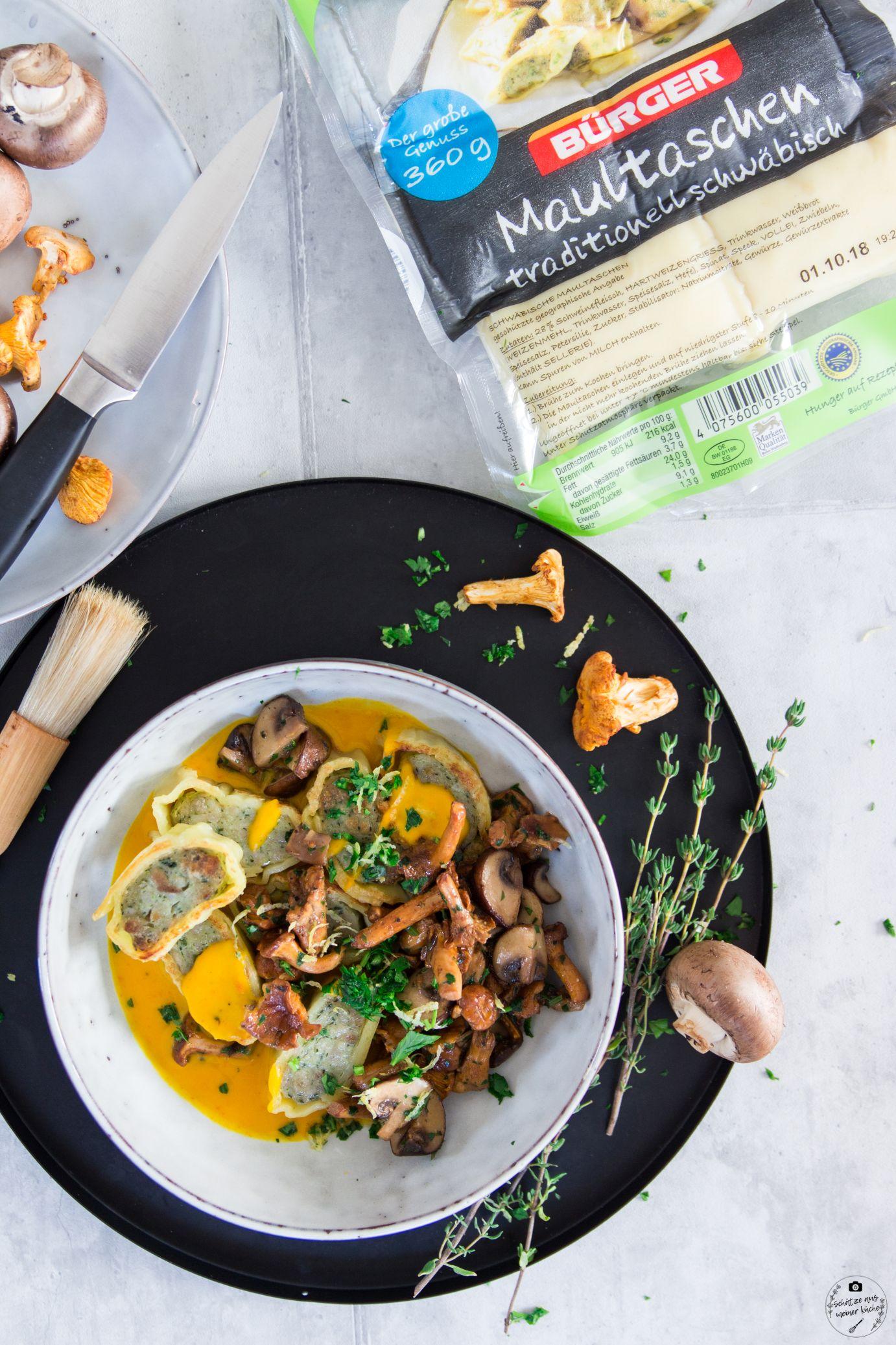 Gebratene Maultaschen mit Hokkaido-Kürbissauce und Pilz-Kräuter-Gemüse Bürger Maultaschen Schätze aus meiner Küche