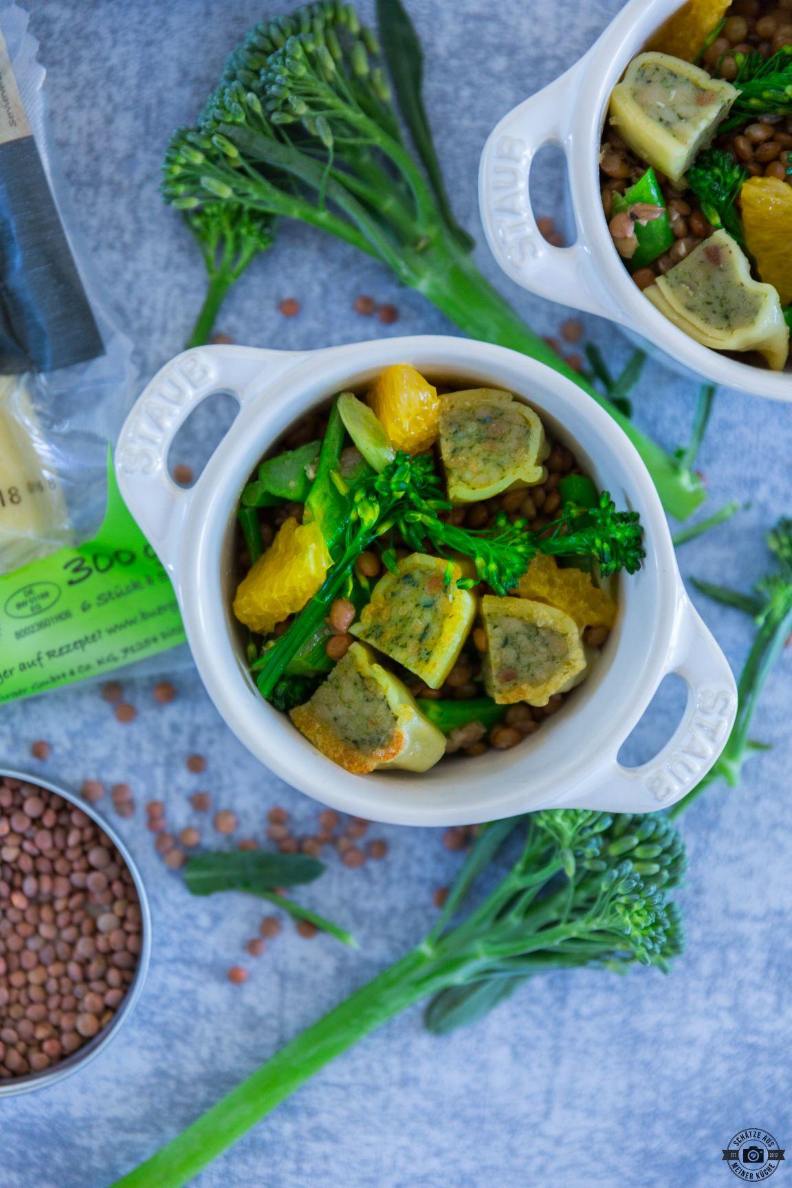 Alblinsensalat mit Brokkoli Maultaschen Orange Schätze aus meiner Küche Bürger