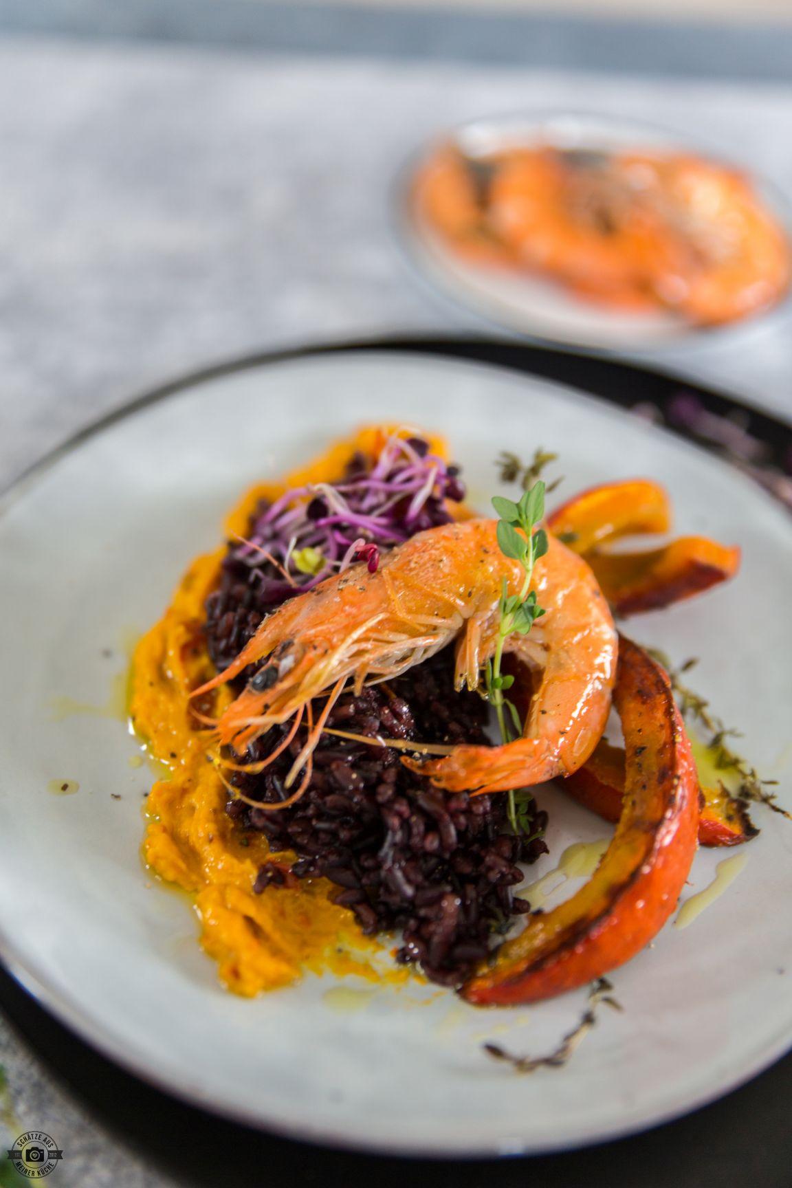 Schwarzer Reis mit Kürbis und Bayerischer Garnele